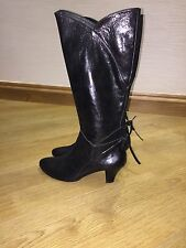 DICK BOONS WOMENS SIZE 5 BLACK COW BOY BOOTS CUBAN HEEL VGC