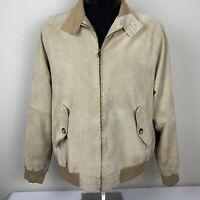 Orvis Suede Leather Bomber Jacket Medium Coat Khaki Plaid Lined Hunting VTG