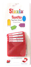Sizzix Sizzlits Tag Set Small - 4 Cutting Dies Set - New In Package #38-9614