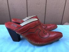RARE New Frye Boots Women 8.5M Red Leather Pointy Toe Western Clog Mules Heel A6