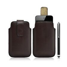 Housse coque étui pochette marron pour Apple Ipod Touch 4G + Stylet