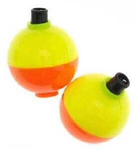 2 Pkgs Plastilite Fishing Floats Bobbers Fluorescent Yellow Orange Choose Size