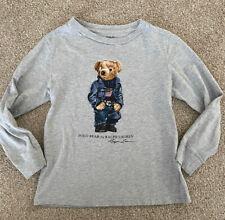 Polo Ralph Lauren Boys Grey Heather Polo Bear Graphic Long Sleeve T-Shirt Sz 6