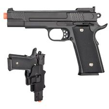 FULL SIZE METAL M1911 SPRING AIRSOFT PISTOL HAND GUN w/ HIP HOLSTER 6mm BB