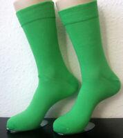 2 Paar Herren Socken ohne Gummi extra breiter Softrand leuchtend grün 39 bis 46