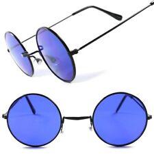 Old School Vintage Retro 70s Mens Womens Hippie Lennon Blue Round Sun Glasses
