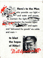 """WARTIME PROPAGANDA CARD - """"HERE'S TO THE MEN WHO PROVIDE OUR LIGHT  & WATER ..."""""""