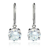 925 Sterling Silver 10mm Round Cubic Zirconia Lever back Dangle Earring