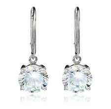 Round Cubic Zirconia Lever back Dangle Earring 925 Sterling Silver 10mm