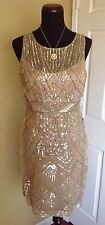 NEW SUE WONG  BEIGE GOLD SEQUINS BEADED COCKTAIL COCKTAIL EVENING DRESS 14 NWT