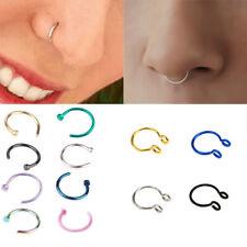 Septum Rings Stainless Steel Nose Piercing U Shaped Fake Nose Ring Hoop