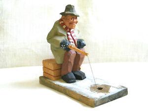 VTG Swedish OOAK Wood Hand Carving Gunnarsson Fishing Men Ice Angler Funny 1960s