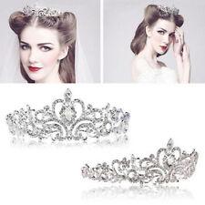 Elegant Bridal Princess Stunning Crystal Hair Tiara Wedding Crown Veil Headband