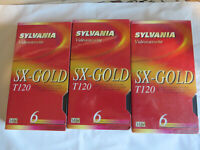 Sylvania Blank VHS Video Cassette Tape NEW Sealed lot 3 SX Gold T120 6 hours
