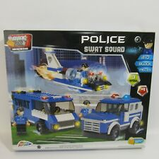 Block Tech Police Swat Squad New Command Transport Pack Hovercraft & 2 Trucks