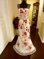 GORGEOUS BEADED STRAPLESS WHITE MERMAID BRIDESMAID WEDDING PROM DRESS