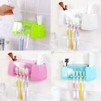Toothpaste Toothbrush Holder Bathroom Home Family Wall Mount Stand Storage Rack