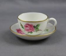 "Antique Meissen Pink Rose Small Demitasse Miniature Cup & Saucer (S) 1"" Swords"