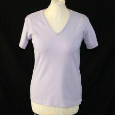 COTTON TRADERS Women T-shirt 12 Short Sleeve Lilac V Neck Tee Casual Fitted Top