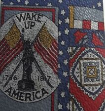 Burgundy Blue American Flag Patriotic Silk Tie