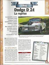 VOITURE DODGE D 24 FICHE TECHNIQUE AUTOMOBILE 1946 COLLECTION CAR