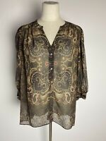 Joie Top Women's Size S 100% Silk Printed Popover Blouse Brown/Gold/Red