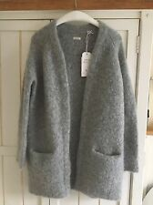 "JACK WILLS ""suttontree"" Long Gris Loop Mohair Cardigan, Taille S-M (8-10), Bnwt"
