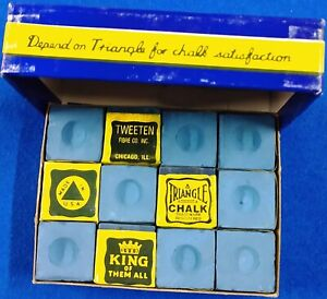 """TRIANGLE VINTAGE Billiard Chalk (1970's)""""BLUE"""" 12 pieces in BOX ~ USA Ships FREE"""