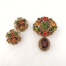 Vintage Regency Rhinestone Brooch/Pin Or Pendant & Earrings Set