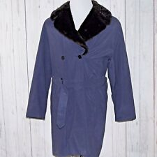 Jaeger Medium Navy Blue Double Breasted Faux Fur Collar Belted Trench Coat