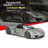 Welly FX Diecast Alloy Model Car Porsche 918 Spyder Convertible Metal Gray 1/18
