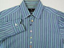 ETRO Milano Men's Sz 40 Button Front Dress Shirt Blue Striped Designer