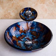 Bad Gäste-WC Waschtisch Aufsatz Glas Waschbecken Waschschale blau rund 42cm NEU