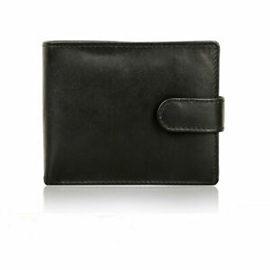 Mens Leather Genuine Wallet RFID Bifold Card ID Holder with Snap-Button Closure