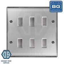 BG Brushed Steel Custom Grid Switch Panel Labelled Kitchen Appliance 6 Gang