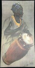 RARE CANVAS 24x12 MAN PLAYING African DRUM Lithograph WM OTTO Print MCM Bongo