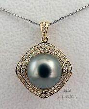 HS Silvery Blue-Green Tahitian Pearl 12.23mm & Diamonds 0.556ctw Pendant 18KYG