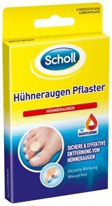 Scholl Hühneraugen Pflaster Hühneraugenentfernung Fußpflege wasserfest 4 Stück