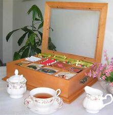 Elegant Tea Bag Chest Storage Cabinet,  solid wood, Glass Top TEA1-OA