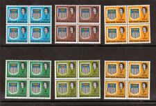 N.RHODESIA, QE11 1963 DEFINS, 6 VALUES TO 9d MNH BLOCKS 4, CAT £21+