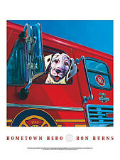 DALMATIAN DOG ART PRINT Hometown Hero - Ron Burns 24x18 Fireman Firetruck Poster