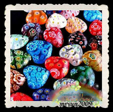 FREE TOP 50PCS SHINING HEART Millefiori glass Spacers Loose BEADS Findings 10MM