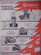 PUBLICITÉ 1960 PEUGEOT PLAISIR D'OFFRIR A NOËL FER BATTEUR PEUGIMIX -ADVERTISING