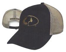 Mossy Oak Logo on Black w/ Khaki MESH BACK Hunting Hat