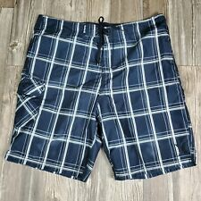 Hurley Men's Size 38 Classic Board Shorts Swim Trunks Black White Plaid