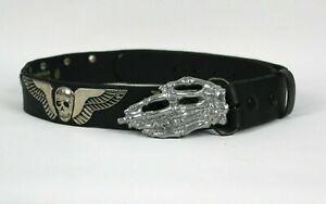 Genuine Leather Belt Black W/ Skull Wings & Skeleton Hand Buckle Sz 36 Aus Made
