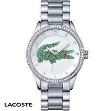 Lacoste 2000889 Victoria Swarovski weiss silber Edelstahl Armband Uhr Damen NEU