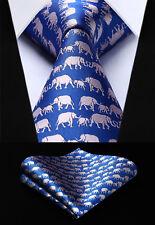 "3.4"" Silk Party Woven Men Blue Animal Tie Necktie Handkerchief Set#TGA15B8S"