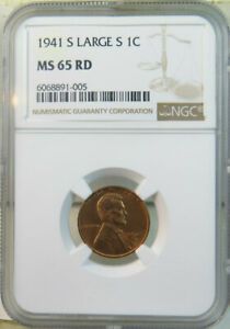 1941 S Lincoln cent NGC MS65RED *Large S* BR