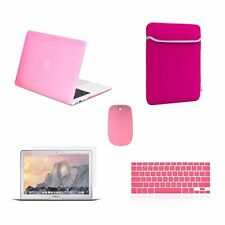 "5 IN 1 Macbook Air 13"" Rubberized Pink Case + Keyboard Skin + LCD + Bag + Mouse"